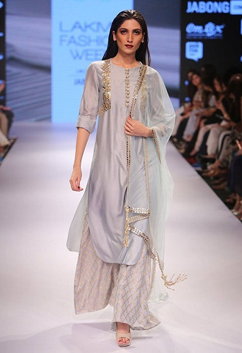 Palazzo Style Silver Salwar Suit
