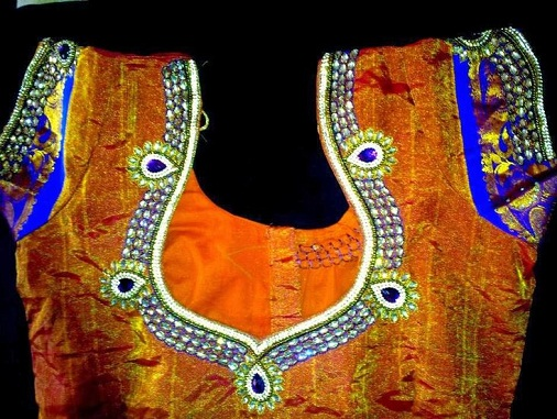 Pattu blouse with Kundan work -26
