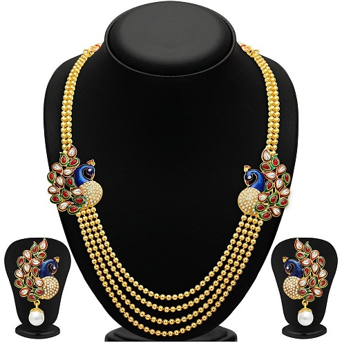 Peacock designed gold plated necklace