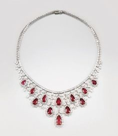 Pear shaped Ruby -Diamond Necklace