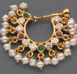 Pearl Nose Pin with Coloured Stone