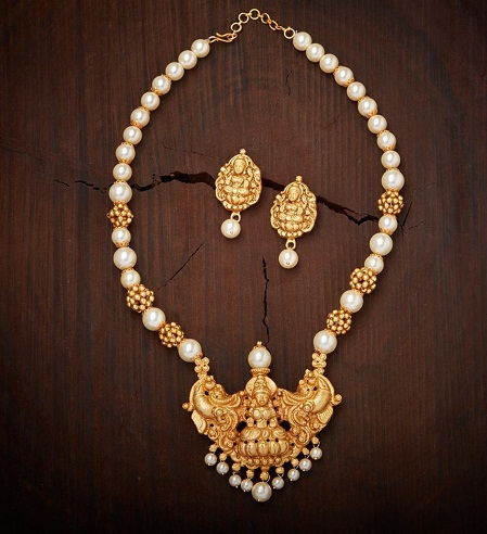 Pearl beads Antique imitiation temple jewelry set