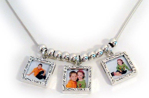 Photo frame charm necklace