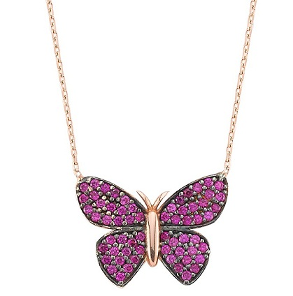 Pink Butterfly Necklace with Swarovski Crystals