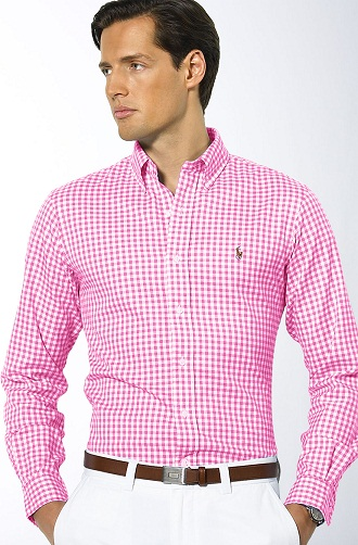 Pink Checkered Men's Shirt