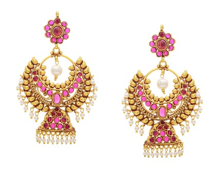 Pink Earring in Gold