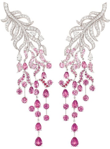 Pink sapphire intricate earrings