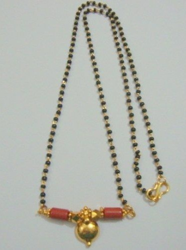 Plain Black bead Gold Chain with coral Mangalsutra