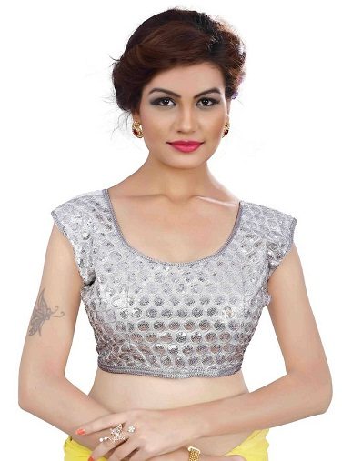Plain Silver colored Sequined U-Neck Blouse design -3