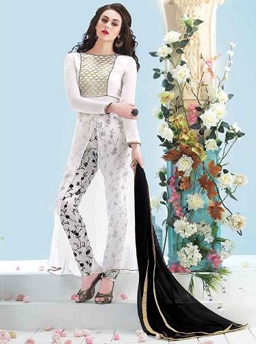 Plain and print combination boat neck salwar suit