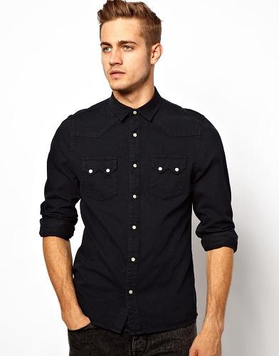 Plain denim shirt for men