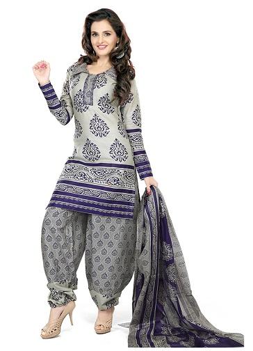 Printed Patiala grey salwarsuit
