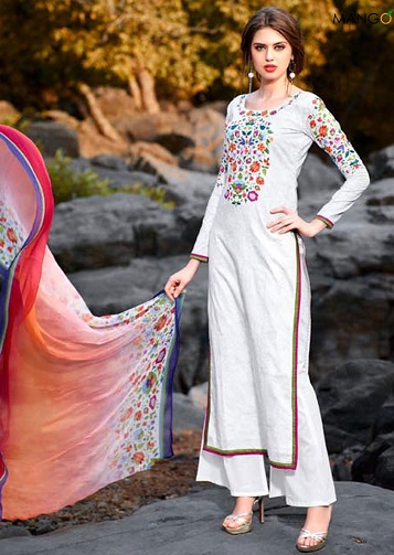 Printed White Salwar Kameez