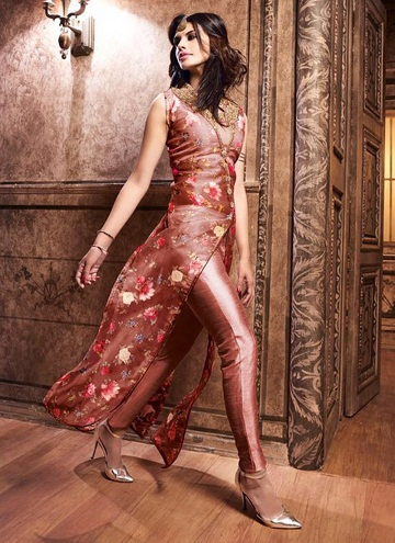 Printed tissue Pakistani floral rose gold salwar suit