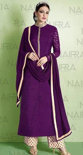 Purple Salwar Kameez – Achkan Style9