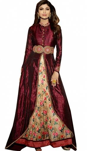 Raw Silk Ankle Length Salwar Suit with Leggings or Skirt3