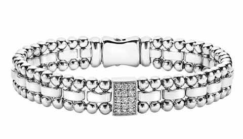 Rectangular Links Diamond Studded platinum bracelet for Men