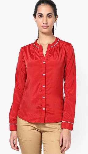 Red Shirt with Contrast Piping