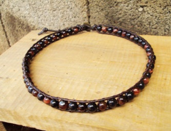 Red Tiger Eye Fancy Anklets for Men
