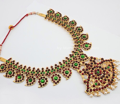 Red and green Bharatanatyam Temple Jewellery