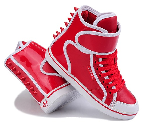 Red white Adidas rivet high shoes
