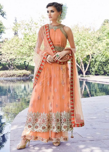 Resham-work Sleeveless net salwar suit