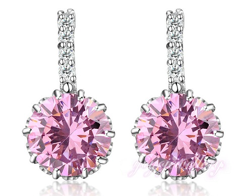 Round cut Pink Earring