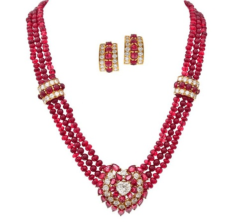 Ruby diamond pendant in Red crystal row Necklace