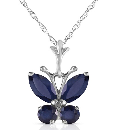 Sapphire Butterfly Charm Necklace