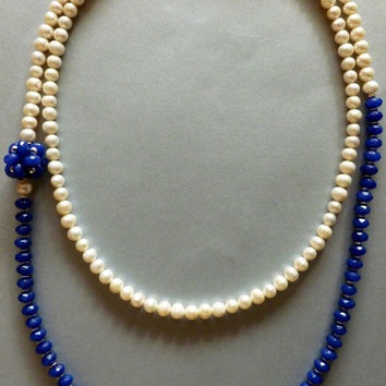 Sapphire-Pearl Long Necklace