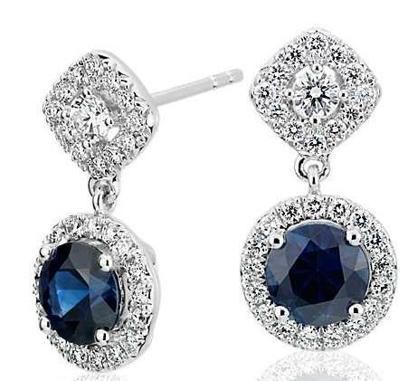 Sapphire mixed shape halo earrings