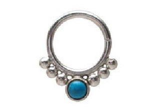 Septum Ring with Blue Stone