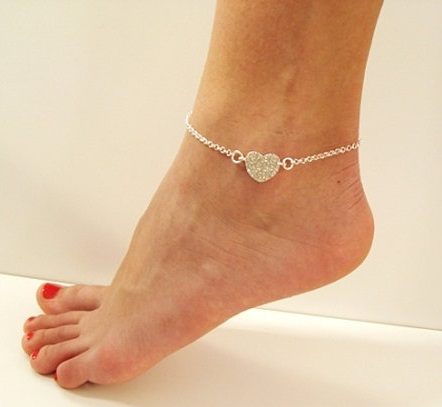 Sequined heart anklet