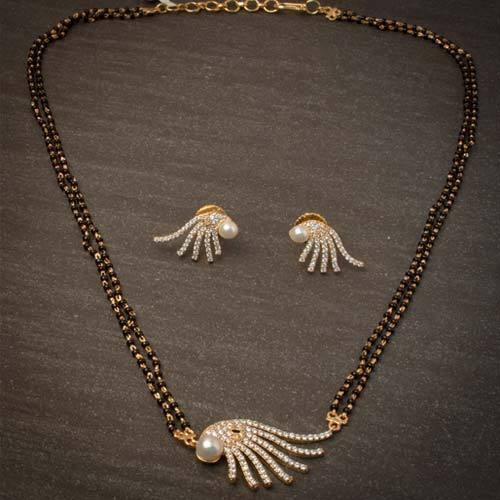 Shell silver mangalsutra