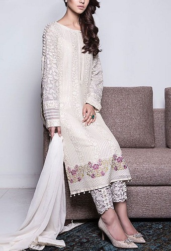 Shimmery White Chiffon Salwar Suit