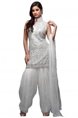 Silver Harem Salwar Suit