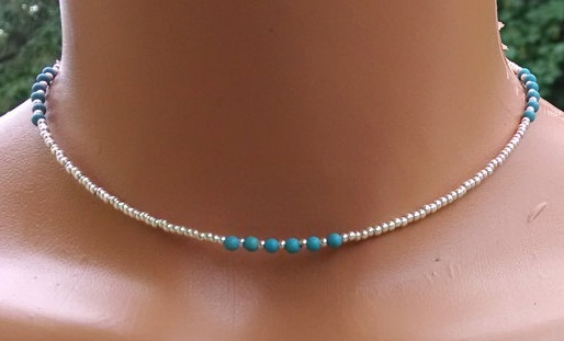 Silver and turquoise beaded choker