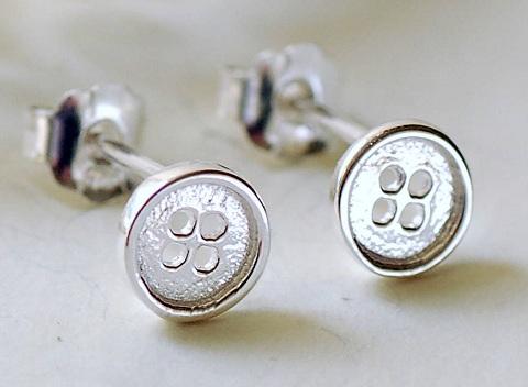 Silver button earrings