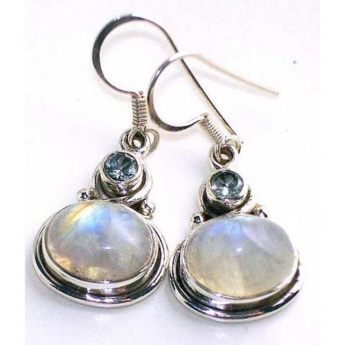 Silver moonstone earrings
