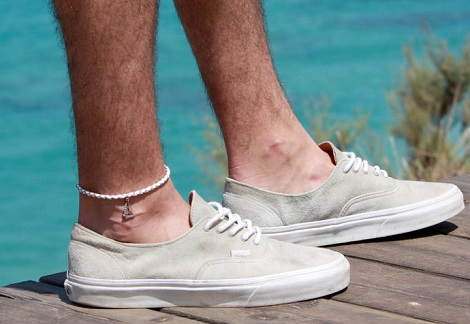 Simple Leather Anklet with Silver Boat