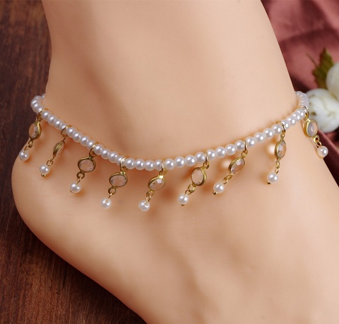 arrow womens dp handmade for amazon women bracelet anklet by ankle jewelry com white galis