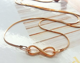 Simple Plain Rose Gold Necklace with Infinity Symbol Pendant