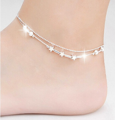 Simple Silver Layered Anklets with Stars