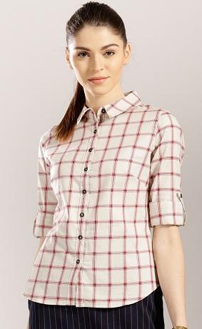 Simple off-white red Women's Casual Shirt