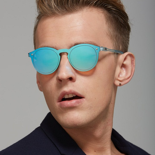 Sky Blue Round Reflective Sunglasses for Men