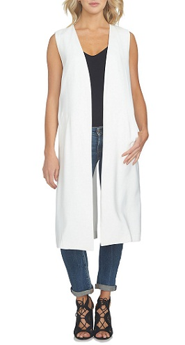 Sleeveless collarless long white vest