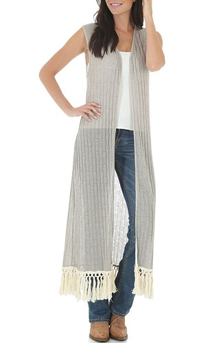 Sleeveless crocheted bordered sheer vest