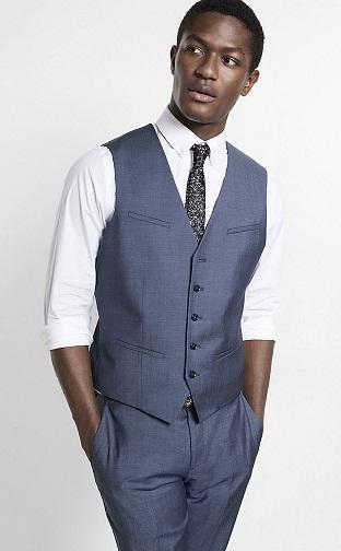 Slim fit men's V-neck suit vest