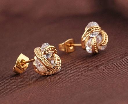 Small Knot Style Diamond Stud Earrings