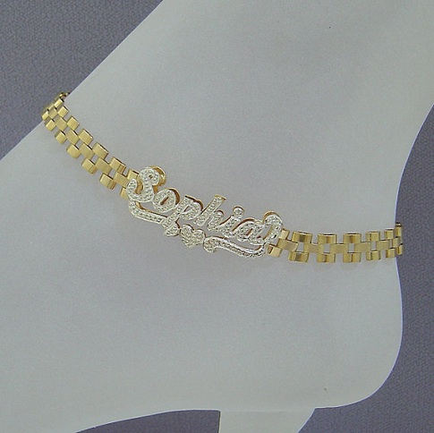 Solid Gold Unisex Diamond Ankle Bracelets